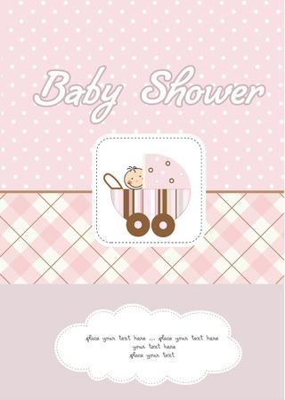 pram: baby girl shower card