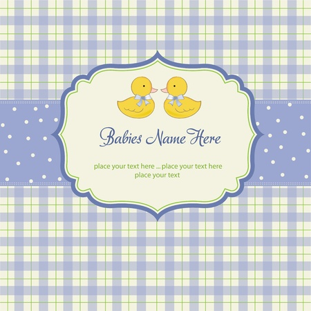 delicate babies twins shower card Stock Vector - 10586925
