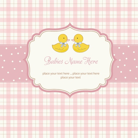 baby announcement: delicate babies twins shower card