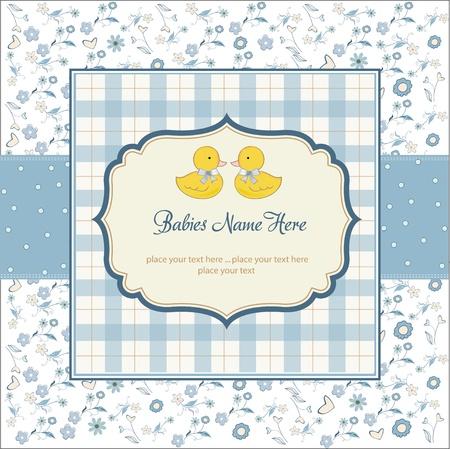 baby duck: delicata neonati gemelli doccia card
