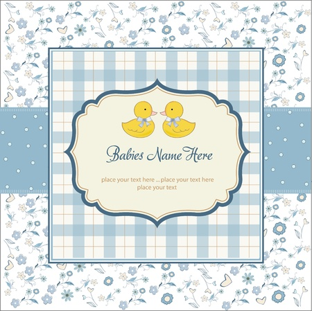 baby boy shower: delicate babies twins shower card