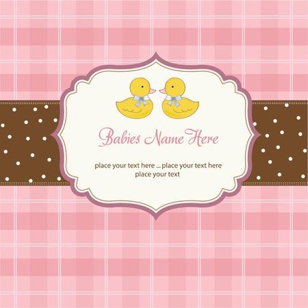 uitnodigen: tere baby's tweeling douche kaart Stock Illustratie
