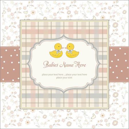 delicate babies twins shower card  Stock Vector - 10586986