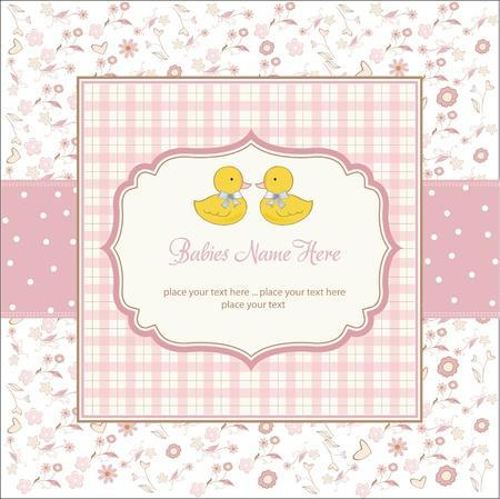 gemelos ni�o y ni�a: tarjeta de ducha delicado beb�s gemelos