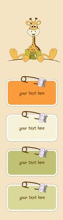 Neue Baby-Mitteilung mit Baby Giraffe Vektorgrafik