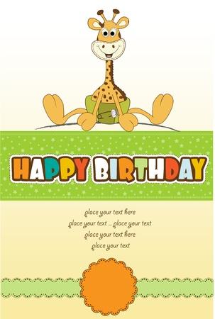 invitacion bebe: nuevo anuncio de beb� con jirafa beb� Vectores