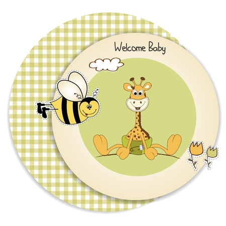 specifically: new baby announcement with baby giraffe