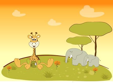 baby giraffe in jungle Vector