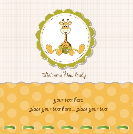 new baby announcement with baby giraffe  Stock Vector - 10586934