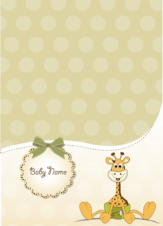 little girl eating: new baby announcement with baby giraffe