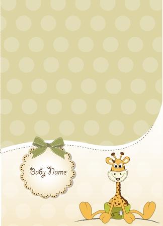 nieuwe baby aankondiging met baby giraffe