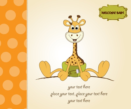 baby girl background: new baby announcement with baby giraffe