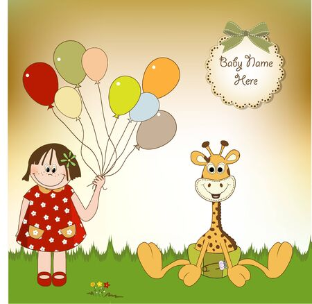 new baby announcement with baby giraffe  and girl Vector