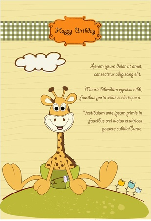 new baby announcement with baby giraffe  Stock Vector - 10586893