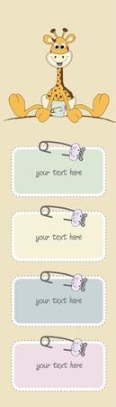Neue Baby-Mitteilung mit Baby Giraffe