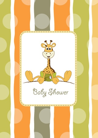 new baby announcement with baby giraffe  Stock Vector - 10586840