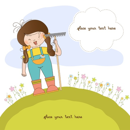 young gardener who cares for flowers  Stock Vector - 10586834