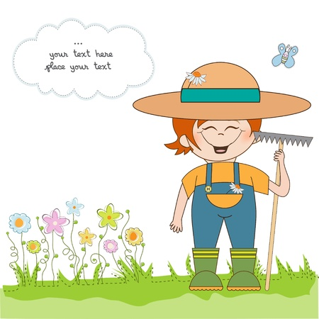 young gardener who cares for flowers  Stock Vector - 10586823