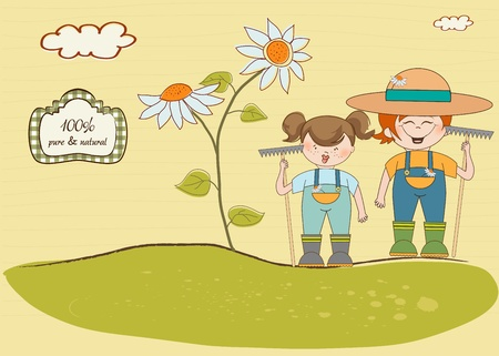 two young gardener who cares for flowers  Vector