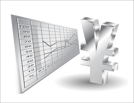 yen sign: antecedentes financieros signo del yen en 3D