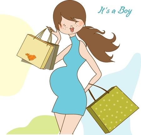 nuevo beb� invitaci�n de la ducha con la futura madre embarazada Vectores