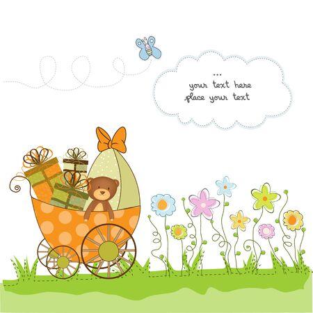 frau dusche: Baby-Dusche-Karte mit Blumen