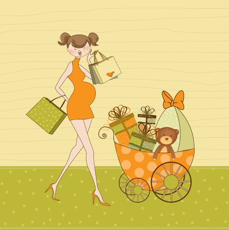 kid shopping: new baby shower invitation with pregnant expectant mother