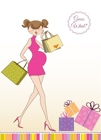 new baby shower invitation with pregnant expectant mother Stock Vector - 10586859