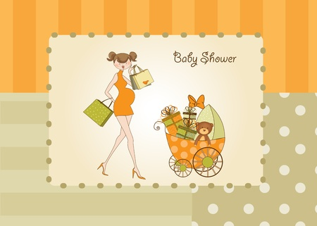 new baby shower invitation with pregnant expectant mother  Stock Vector - 10586964