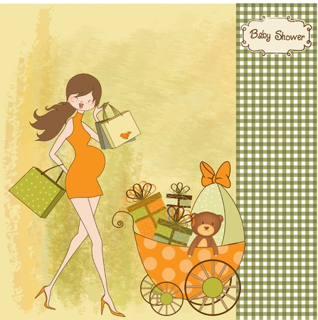 baby and mother: new baby shower invitation with pregnant expectant mother