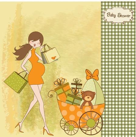 shower b�b�: Nouvelle invitation de douche de b�b� avec la femme enceinte enceinte