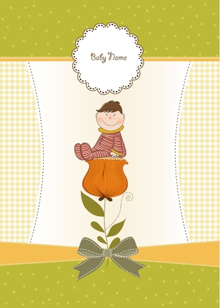 congratulate: greeting card with a baby sitting on a flower