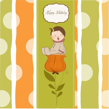 greeting card with a baby sitting on a flower  Vector