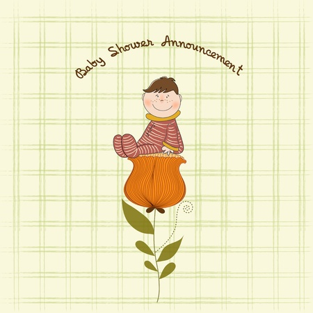 tarjeta de felicitación con un bebé sentado sobre una flor  Ilustración de vector