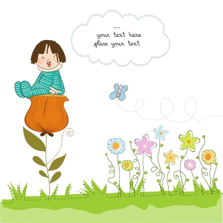 cute baby girls: greeting card with a baby sitting on a flower