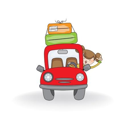 dibujos animados de mujeres: mujer que viaja en coche Vectores