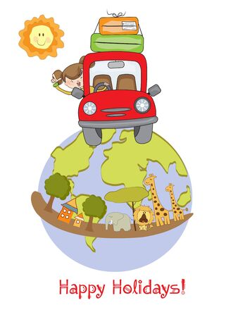 woman traveling by car  Stock Vector - 10578019