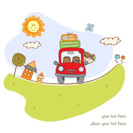 woman traveling by car Stock Vector - 10578006