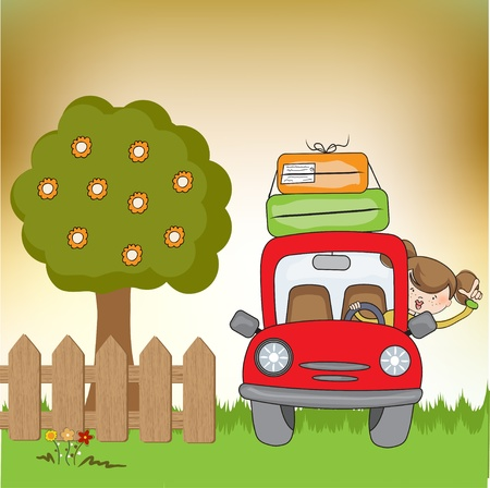 woman traveling by car  Vector