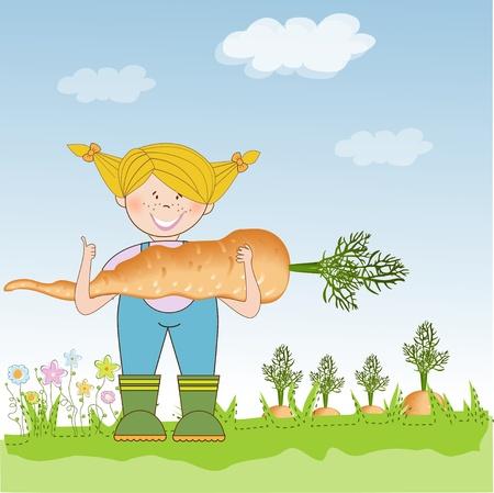 happy farmer: gardener to harvest carrots