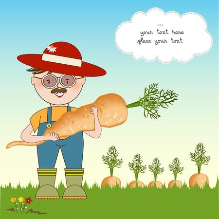 zanahoria caricatura: jardinero a las zanahorias de la cosecha