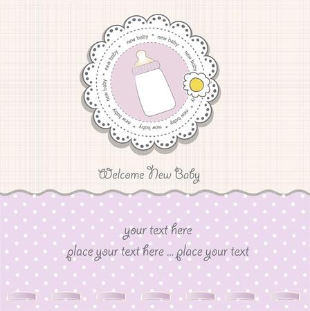 bautismo: tarjeta de ducha baby girl  Vectores