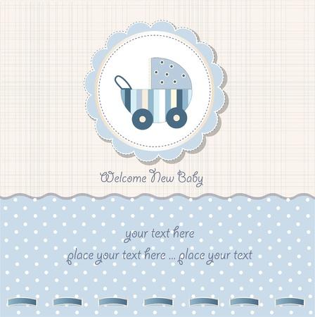 pram: baby boy shower card