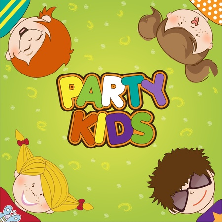 kids drawing: kids celebrating birthday party  Illustration