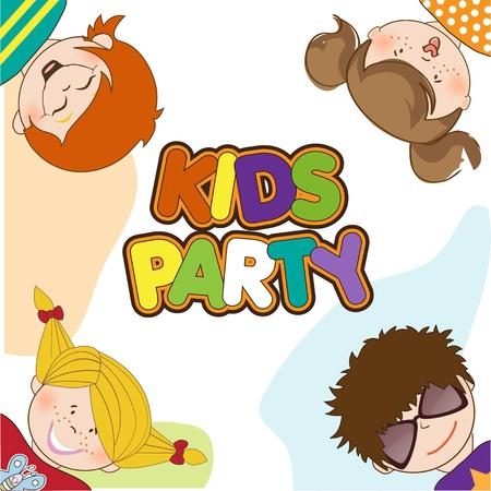 kids celebrating birthday party  Stock Vector - 10578007