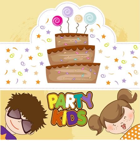 kids celebrating birthday party Stock Vector - 10578049