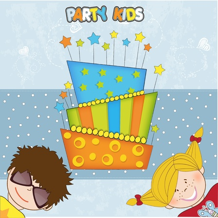 preschool child: kids celebrating birthday party  Illustration