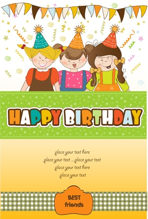kids celebrating birthday party  Stock Vector - 10578056