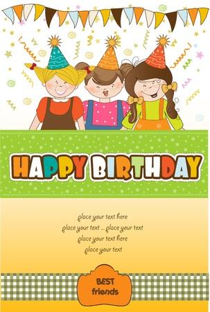 kids celebrating birthday party  Illustration