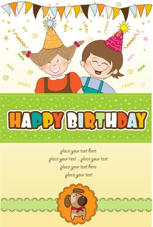 kids celebrating birthday party Stock Vector - 10578051